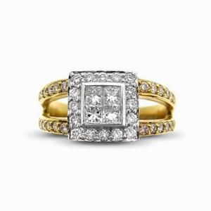 Princess Cluster Ring With Split Shoulders 0.48ct